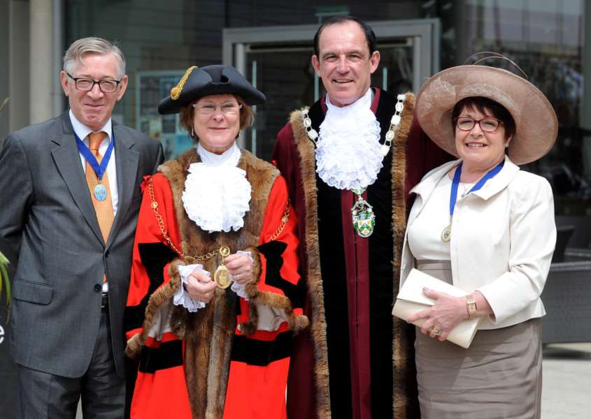 St Edmundsbury Mayor Making ''Pictured; Mayor Julia Wakelam with husband Paul, Deputy Mayor Terry Clements with wife Vivianne ANL-160519-162322009
