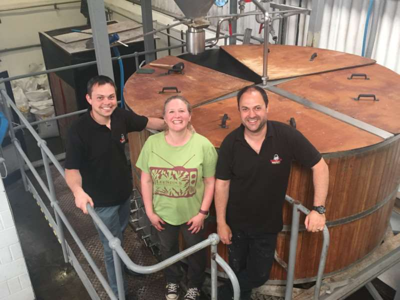 (LtoR) Rob Crawford, general manager, Nethergate, Penny Wilby, thebestof Sudbury, Paul Gower, head brewer, Nethergate ANL-160518-161001001