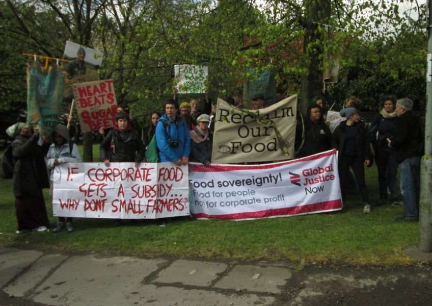 Landworkers' Alliance protesters at British Sugar's Bury St Edmunds factory ANL-150429-154431001