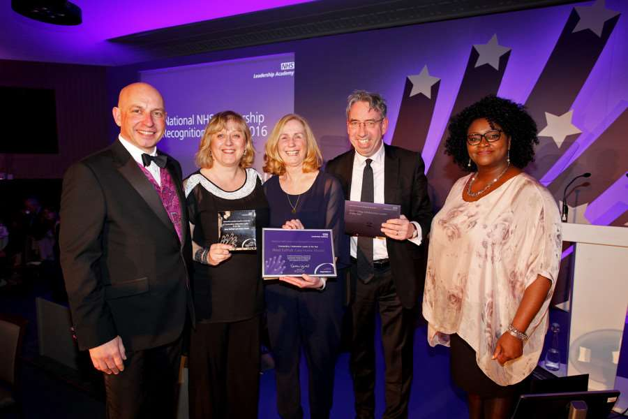 Chris Lake, Head of Professional Development, NHS Leadership Academy; Sandie Robinson, Associate Director of Re-Design; Sue Smith, Care Homes Clinical Support Manager; Duncan Selbie, CEO, Public Health England; Tracie Jolliff, Head of Inclusion and Systems Leadership, NHS Leadership Academy.