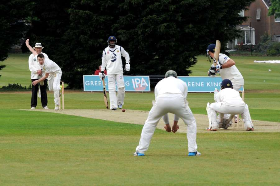 ANOTHER LOSS: Bury's Tom Robotham bowling during fourth consecutive loss at the start of the team's season