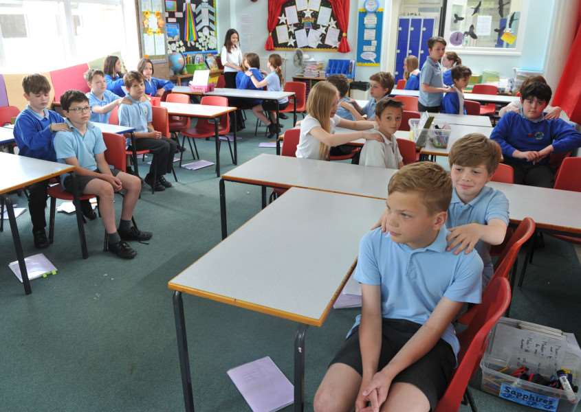 Pupils at Balsham Meadow Primary School are doing peer massage sessions. ANL-151205-065337009