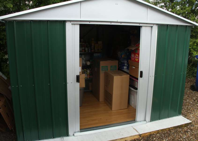 Sunday Suppers' new shed boughgt for them, with some supplies, by Bury Rotary Club