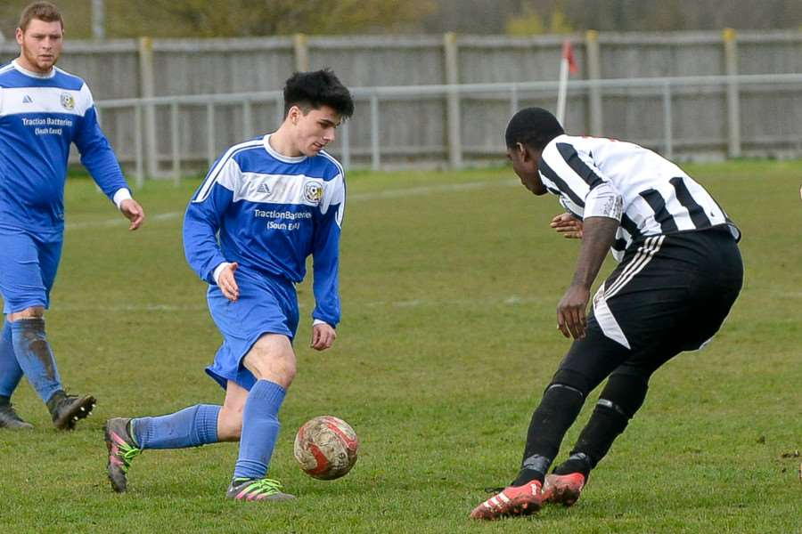 ON TARGET: Tommy Robinson, pictured playing for Cornard United, scored for Suffolk FA Under-18s last night