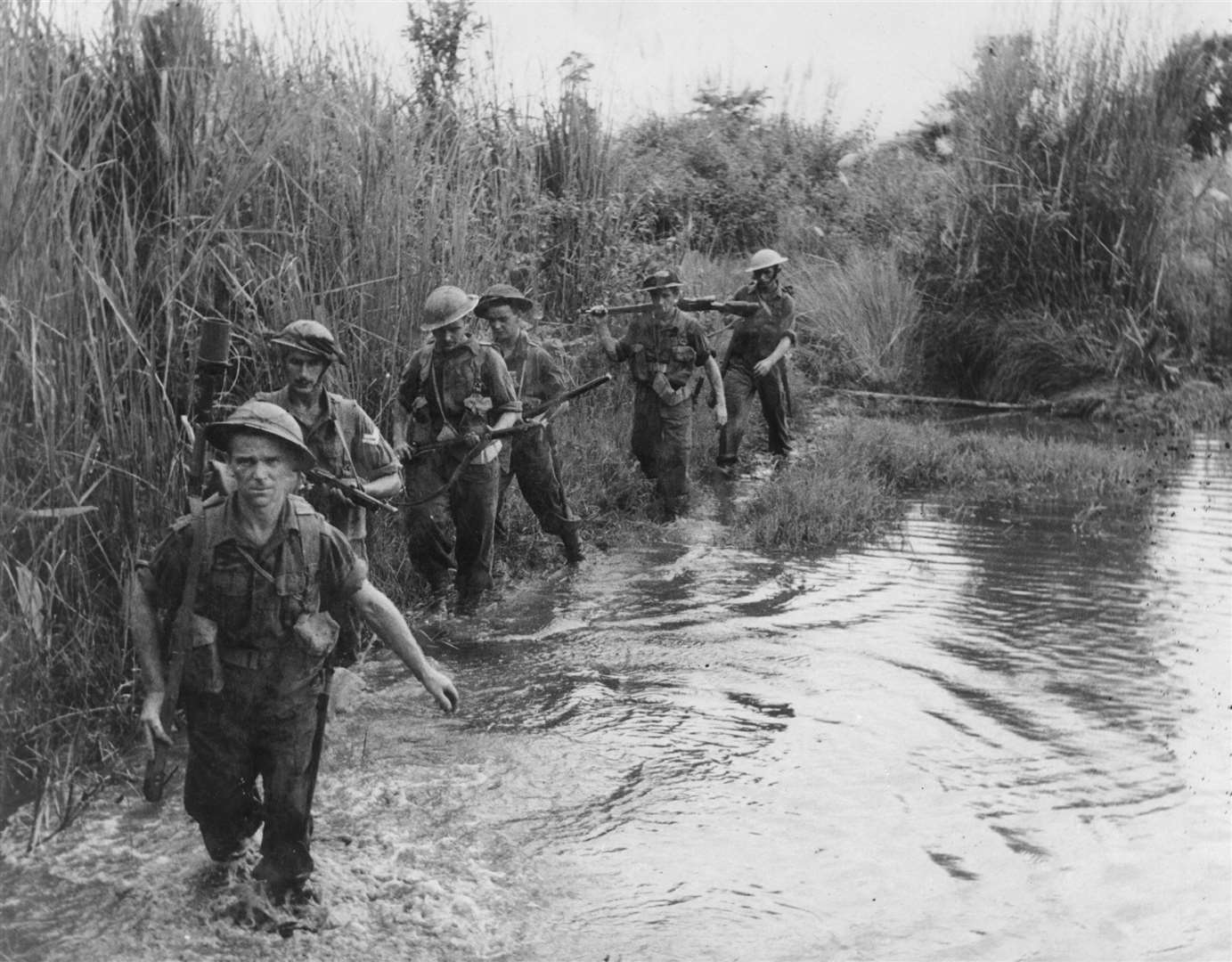A patrol from 2nd Battalion, The Suffolk Regiment in the Arakan peninsular of Burma in 1943. Picture courtesy of the Suffolk Regiment Museum.