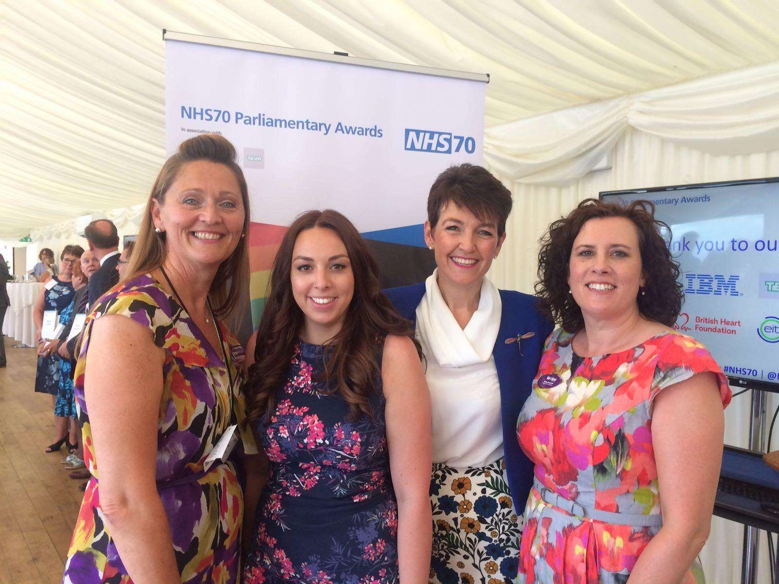 Sue Smith, fundraising manager at My WiSH Charity, Amy Hatch, fundraising officer My WiSH Charity, Jo Churchill MP for Bury St Edmunds, Sally Daniels, appeal manager at My WiSH Charity at the NHS70 Parliamentary Awards. (2992610)