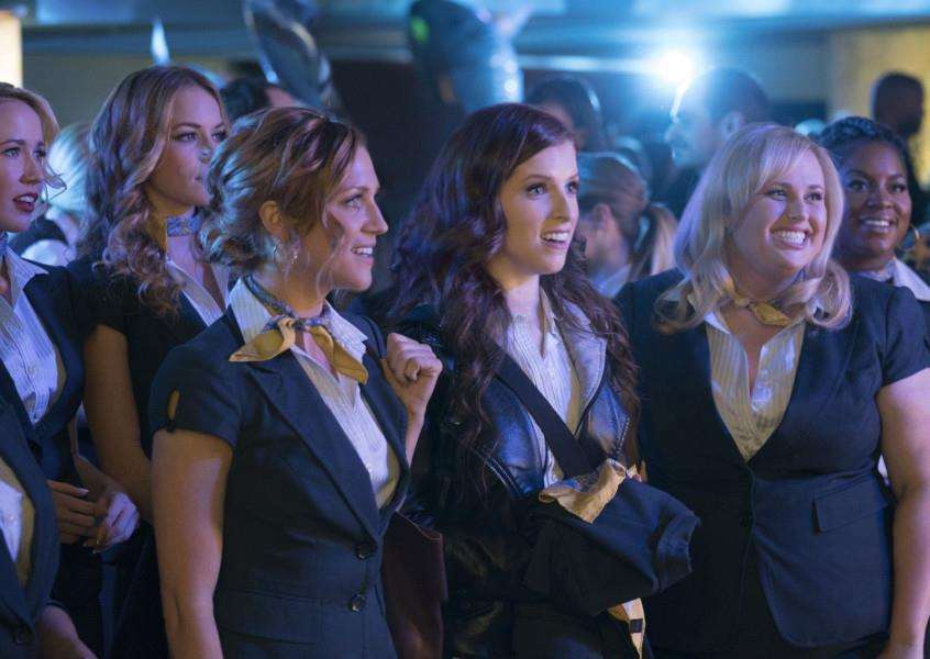 Undated film still handout from Pitch Perfect 3. Pictured: Chrissie Fit as Flo, Anna Camp as Aubrey, Alexis Knapp as Stacie, Brittany Snow as Chloe, Anna Kendrick as Beca, Rebel Wilson as Fat Amy and Ester Dean as Cynthia-Rose. See PA Feature FILM Digest. Picture credit: PA Photo/Universal Pictures/Quantrell D Colbert.