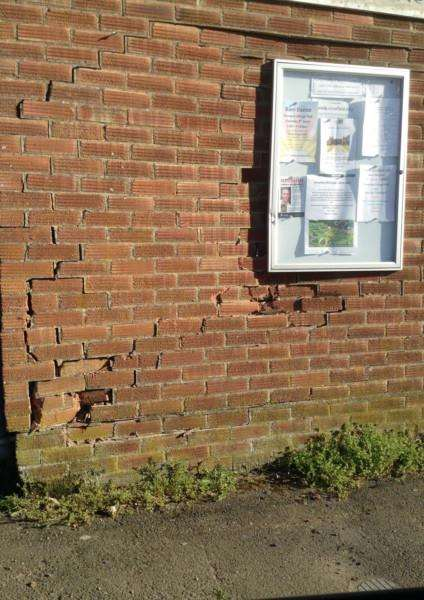 Damage to Crowfield Village Hall'Picture: Jenny Hill