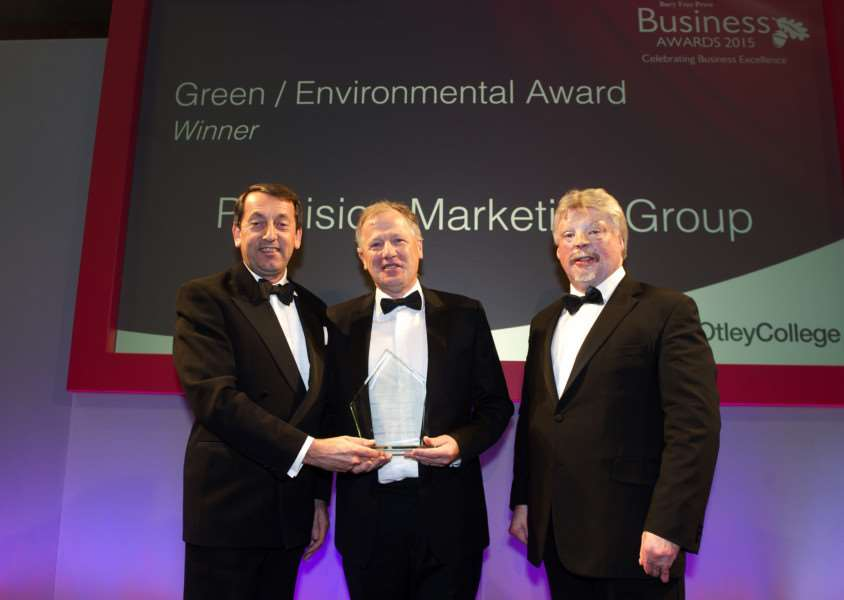 Bury Free Press Business Awards 2015 hosted by Simon Weston''Pictured: Green/Environmental Award presented by Chris Nix (Director of Estates at Easton Otley College) - Precision Marketing ANL-151010-020259009