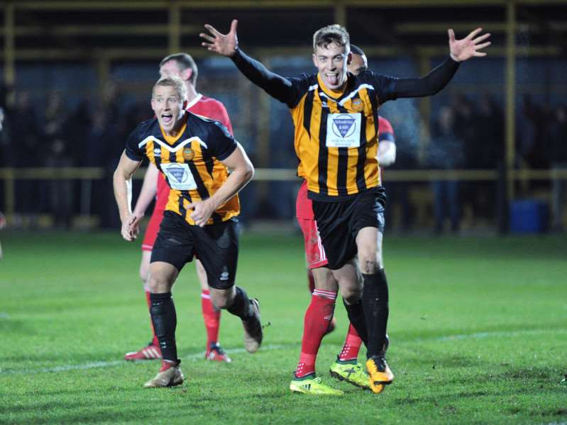 GOAL-DEN MOMENT: Josh Mayhew celebrates his late winner for Stowmarket Town against Haverhill Rovers, which took Rick Andrews' side to nine straight victories Picture: Mecha Morton