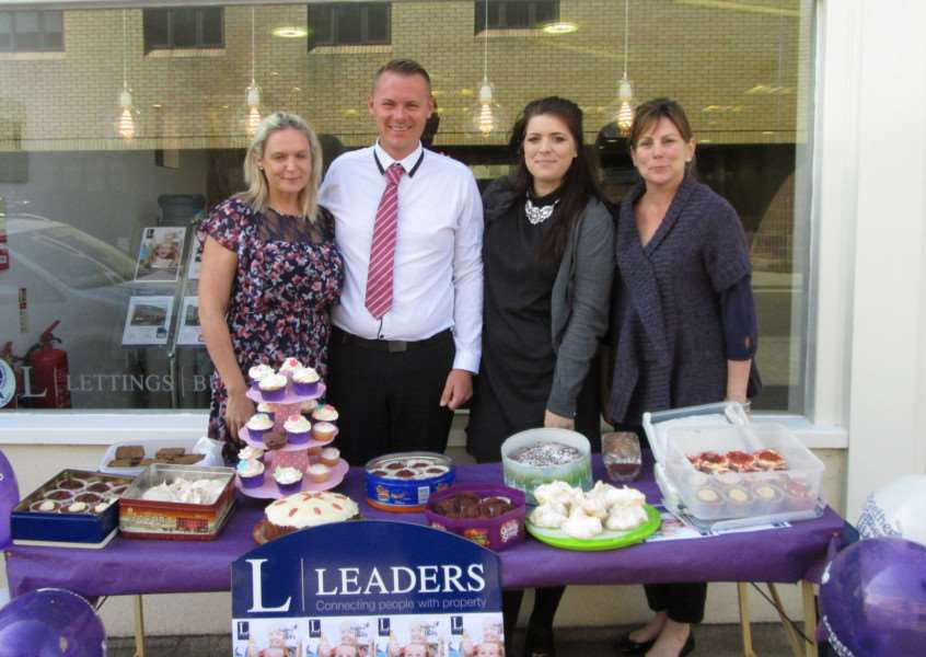 Leaders estate agents staff, from the left, Eve Penman, Daniel Hathaway, Amy Grady and Helen Osgood with their cake stall for Together for Short Lives ANL-160527-110440001