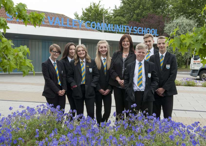 Clare Stour Valley School, Head Christine Inchley with pupils from Y9 pleased that the school is doing well and in need of new classrooms for more students.'Picture Mark Westley ANL-150623-235516009