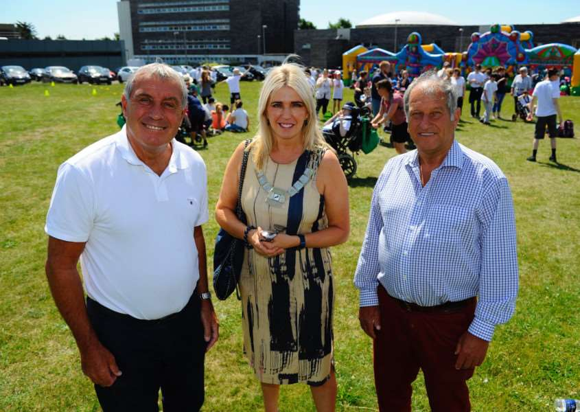 Sporting legends Peter Shilton and Bob Champion with Kate Milbank, chairman of Breckland Council