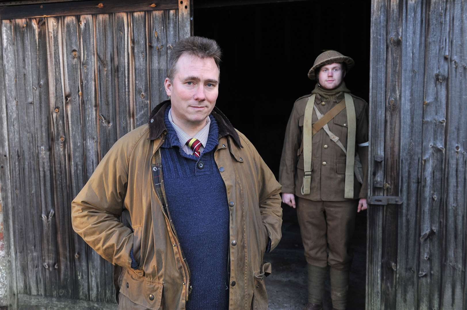 Taff Gillingham and Joe Frost in WW1 clothing. Picture: Mecha Morton