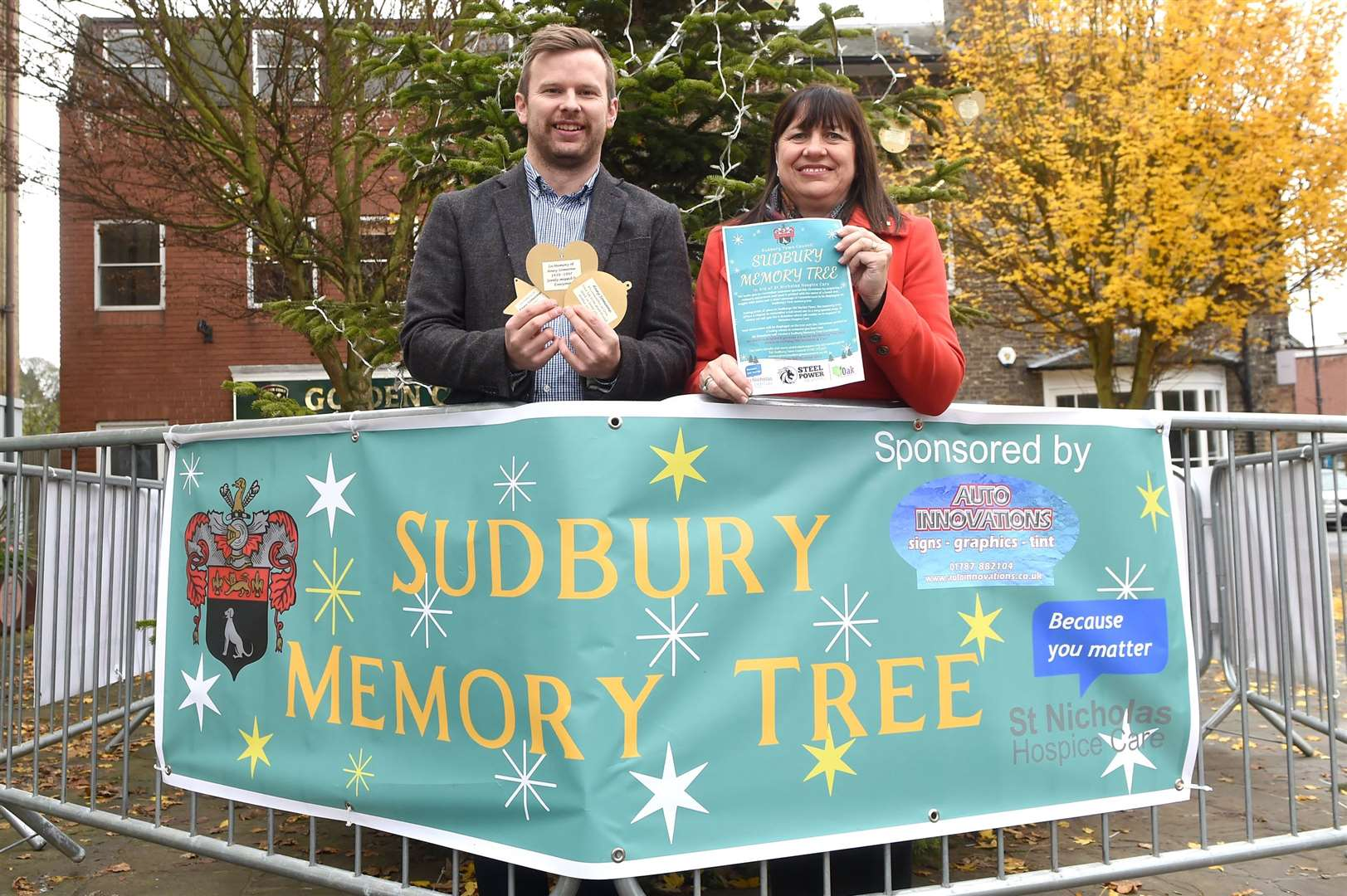 The Sudbury Memory Tree is back up for 2019...Pictured: George Chilvers from St Nicholas Hospice Care and Teresa Elford from Sudbury Town Council...PICTURE: Mecha Morton .... (22563471)