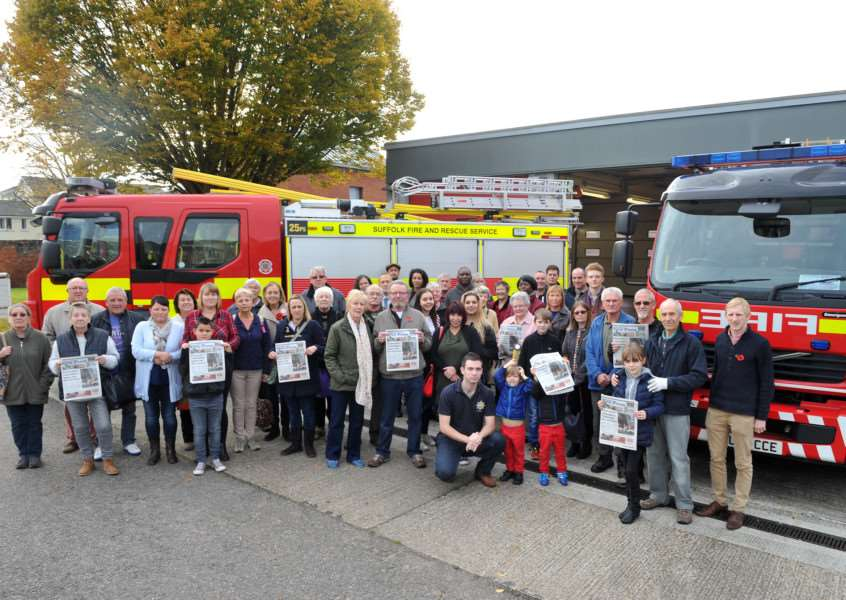 Sudbury's protest against the possible cuts to the fire service in the town and the possible loss of the town's second fire engine. the campaign is being backed by the SFP. ANL-151027-135720009