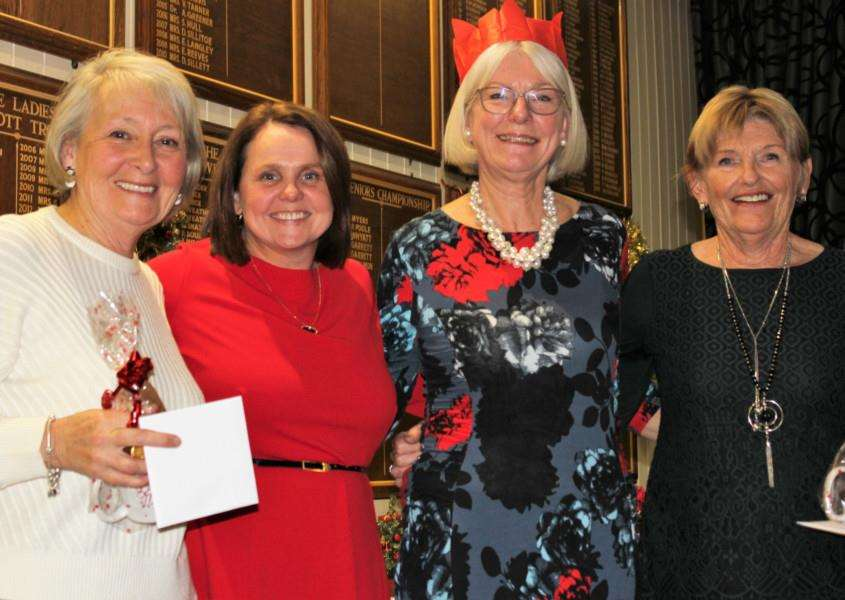 CHAMPIONS: Winning Bury GC Ladies' Christmas Competition team Pam Madams, Kathryn Colsell & Jill Cook with new Ladies' Captain Hannah Clark. Picture: Mike Verhelst