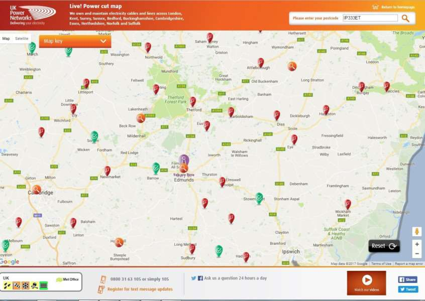 Red powercut markers were covering UK Power Network's live power cut map of Suffolk yesterday afternoon