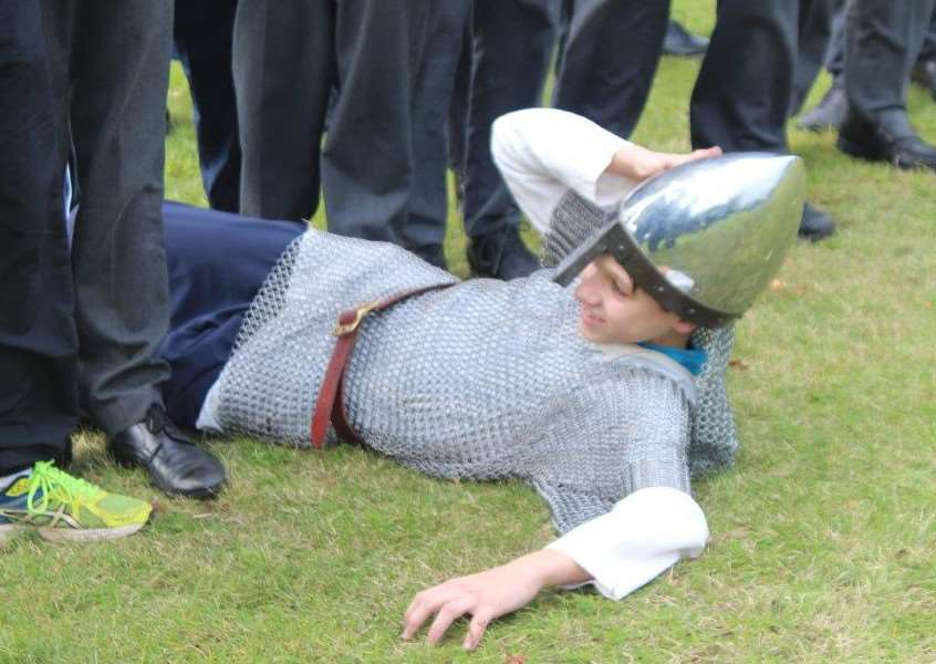 Charlie Wakefield as Duke William in the Battle of Hastings re-enactment at Culford School ANL-161018-130858001