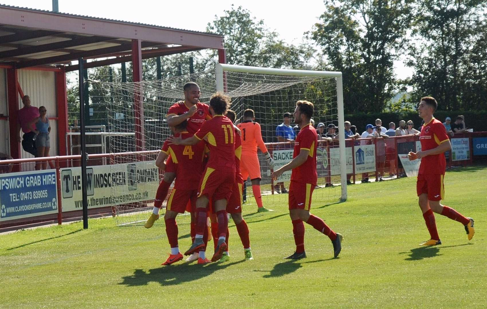 Needham celebrate as they beat Leiston 3-0 on August 26, 2019. Picture: Ben Pooley (16137178)