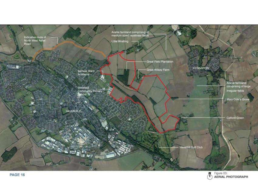 This aerial view shows the Great Wisley Park site outlined in red and the north west relief road in orange