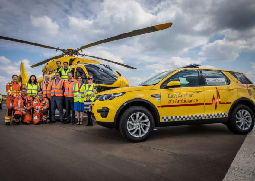 East Anglian Air Ambulance unveils its two Land Rover Discovery Sport rapid response vehicles