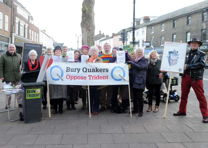 Bury Quakers held a silent vigil outside Moyes Hall in protest of the Trident Nuclear missile system ANL-160221-185210009