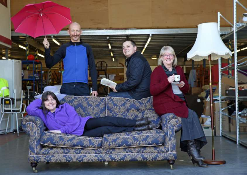 Lisa Christie, Bill Hill, Robert Webb and Lynda Hempstead, of St Nicholas Hospice Care, with some of the items which will be available at the clearance sale, in Bury St Edmunds, on 8, 9 and 10 April ANL-160104-125615001