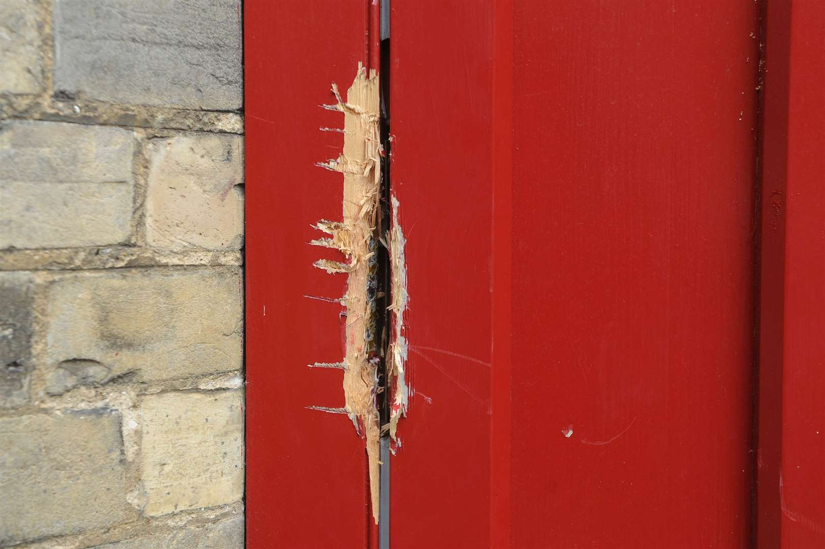 The damage done to one of the doors at St John's Church in St John's Street. Picture by Mecha Morton.